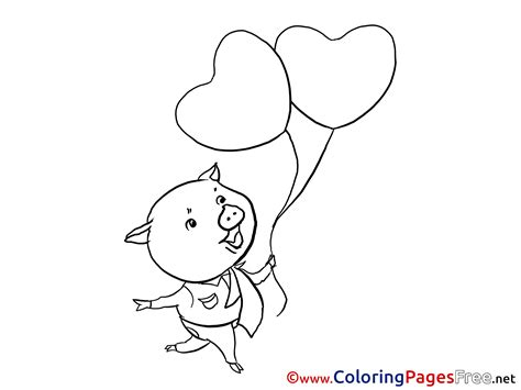 valentine pig coloring page pig balloons kids valentine s day coloring pages