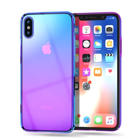luxury phone for iphone xs max x transparent purple plating pc back cover for
