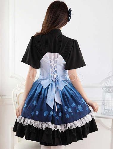 Ombre Blue Star Print Lace Cute Lolita Dress   Milanoo.com