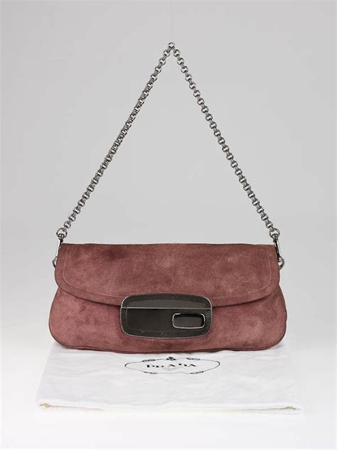 Mirror Clutch Bag by Prada Mauve Suede Mirror Clutch Bag Yoogi S Closet