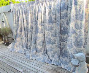 Blue Toile Curtains Vintage Waverly Toile Blue And White Curtain Drape Country