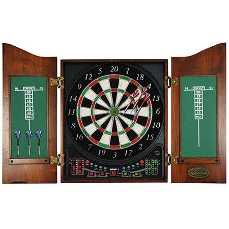 Electronic Dart Board Cabinet Set by Sportcraft Zenith Electronic Bristle Dartboard Cabinet Set