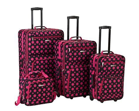 Set Polky Dot Gvr rockland fox luggage 4 luggage set black pink polka dot