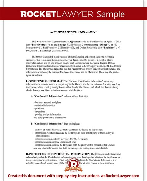 Exle Of Non Disclosure Agreement Template Non Disclosure Agreement Nda Form Create A Free Nda Form