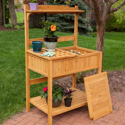 outdoor potters bench coral coast gardener s choice fir wood potting bench potting benches at hayneedle