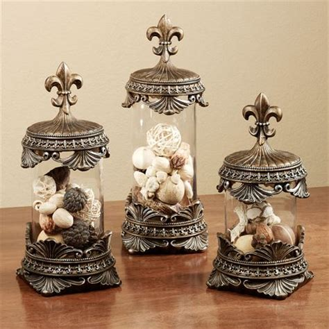 fleur de lis decorative jar set