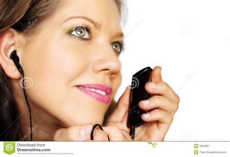 pretty woman mp3 woman listening music royalty free stock photography
