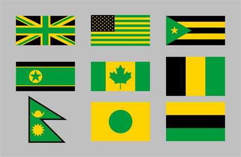 uk flag colors if green gold and black were the standard flag colors