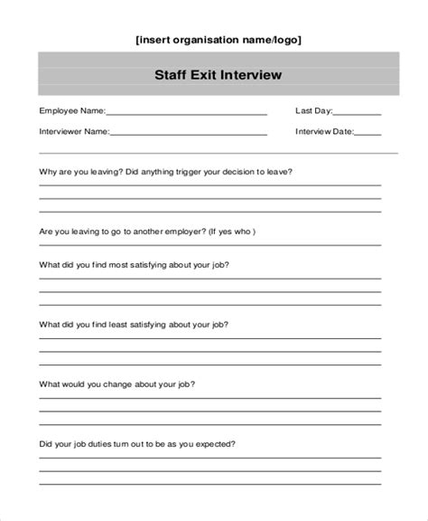 employee exit form template sle exit form 10 free documents in doc pdf