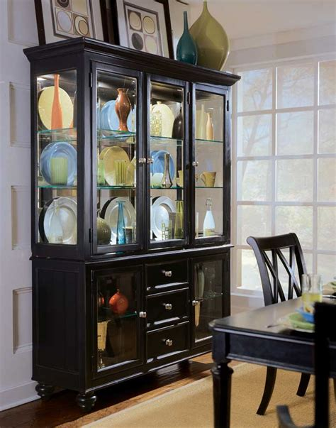 Black Dining Room Cabinet by China Cabinet In Rustic Black Finish W Five Glass Front