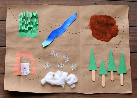 Map Craft Paper - we re going on a hunt map binoculars with free