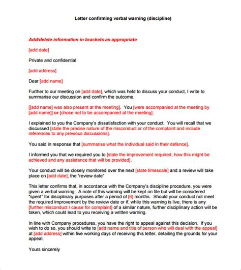 Verbal Warning Letter Template 6 Verbal Warning Templates Pdf Sle Templates