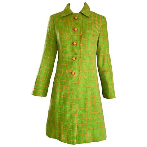 orange swing coat 1960s neon lime green and orange checkered vintage 60s