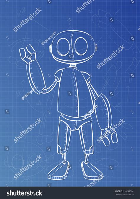 blue print designer robotic blue print design stock vector illustration