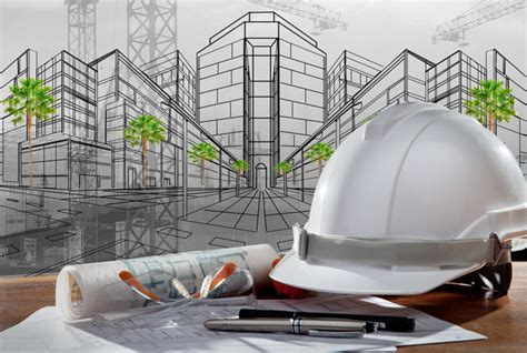 helmet design engineering civil engineer working table with safety helmet stock