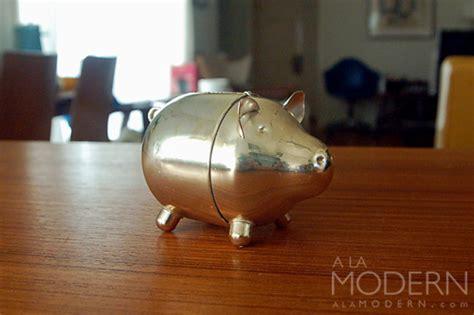 steel piggy bank silverplate modern piggy bank on a la modern