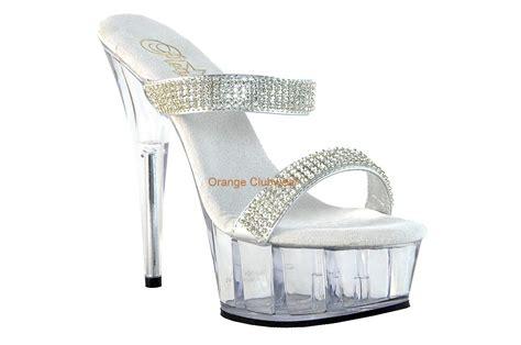 pleaser high heel sandals pleaser clear silver rhinestone band slip on platform