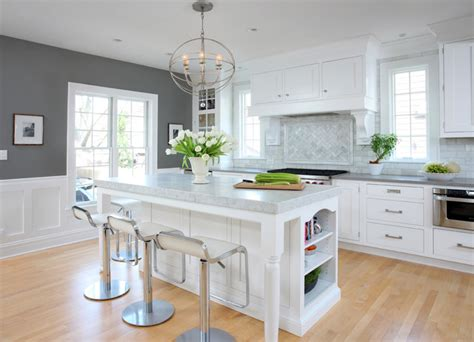 Accent Color For White And Gray Kitchen by Soothing White And Gray Kitchen Remodel Traditional