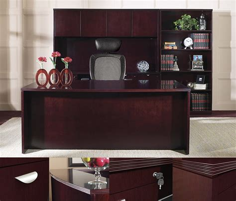 ofd kent series  bow front  group wood veneer desk  hutch  bookcase  office