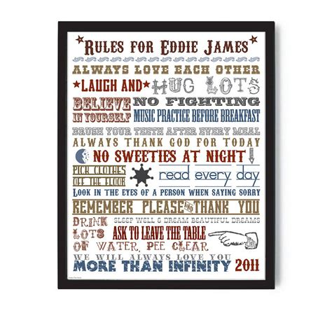 family house rules personalised family house rules print by more than words