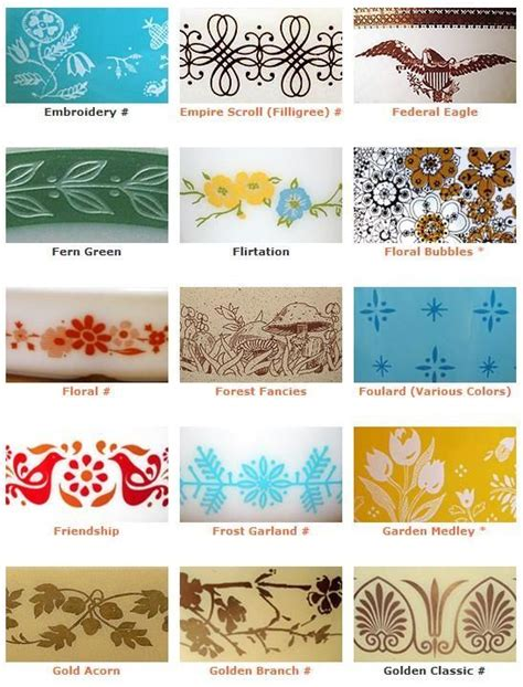 vintage pattern name vintage pyrex pattern names and exles vintage loves