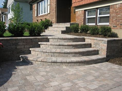 Unilock Steps paver walkway unilock tumbled brussels block walkway and steps terra cota random pattern