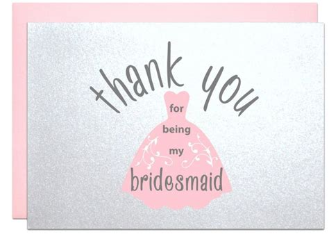 Thank You For Engagement Gift Cards - thank you for being my bridesmaid thank you card from bride to bridesmaid bridal