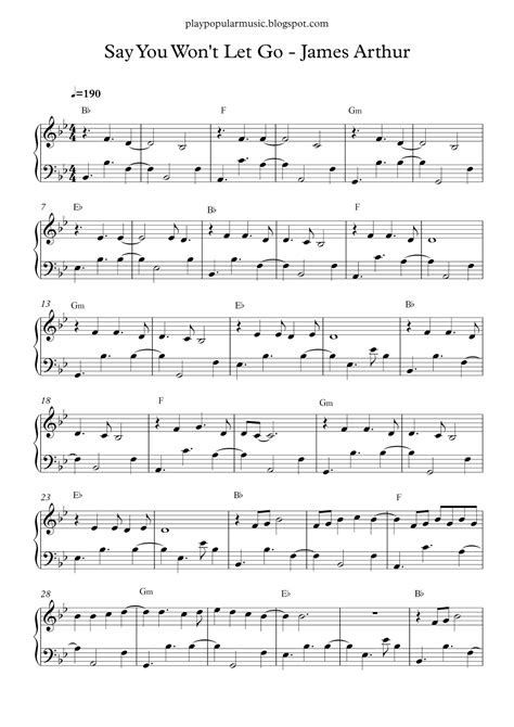 go light your piano sheet free piano sheet say you wont let go arthur