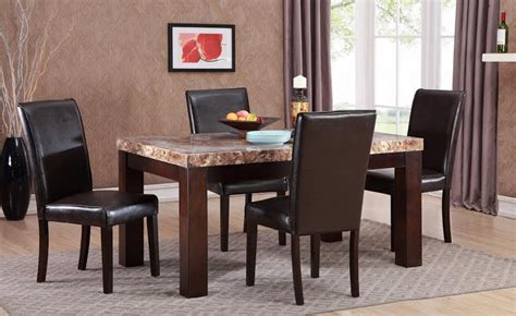5pc Faux Marble Dining Table Set New 5 Faux Marble Top Dinette Dining Set Includes Table With 4 Chairs Ebay