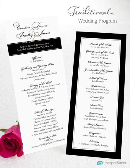 traditional wedding program templates wedding program wording magnetstreet weddings
