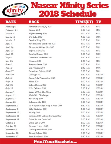 printable nascar xfinity schedule 2015 nascar cup race schedule 2018 circuit diagram maker