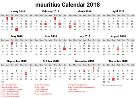 new year 2018 holidays 2018 new year mauritius calendar printable