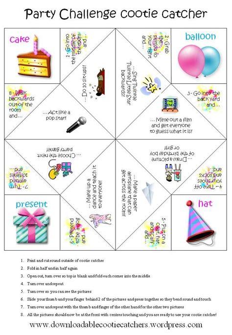 printable paper games party challenge cootie catcher catcher birthdays and craft