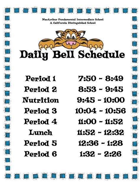 Bell Schedule Template by Bell Schedules Daily Bell Schedule