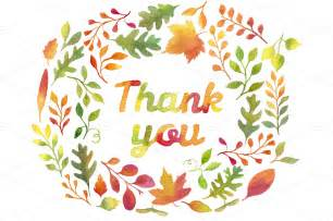 quot thank you quot in autumn leaves wreath illustrations on