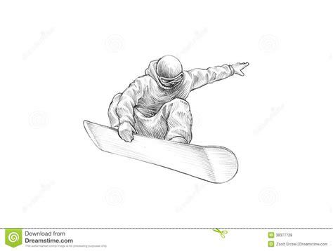 sketchbook copy selection sketch pencil illustration of a snowboarder