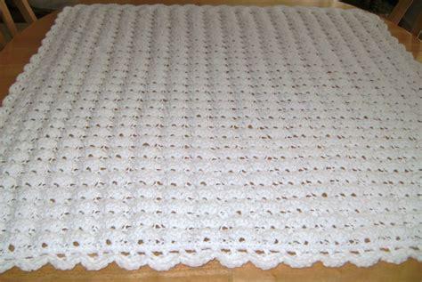 white pattern blanket crochet white baby blanket shell pattern handmade girl boy