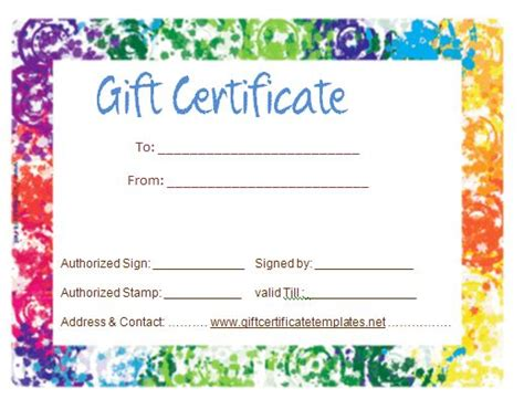 colorful certificate template colorful border gift certificate template beautiful