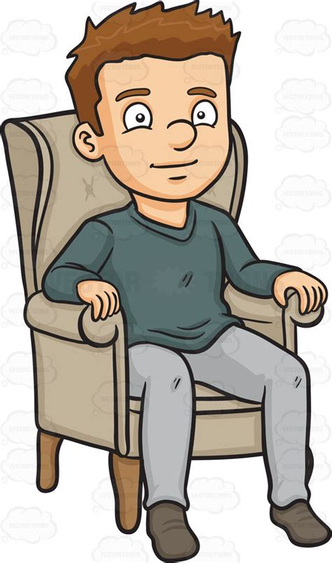 cartoon sitting on couch cartoon clipart a man relaxing on a single couch