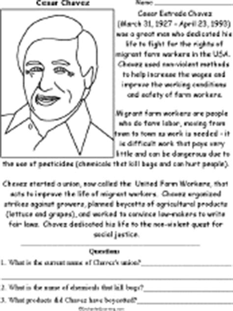 Cesar Chavez Worksheet by Printable Read And Answer Worksheets Enchantedlearning