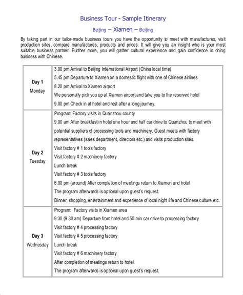 itinerary template pdf business itinerary template sle blank road trip