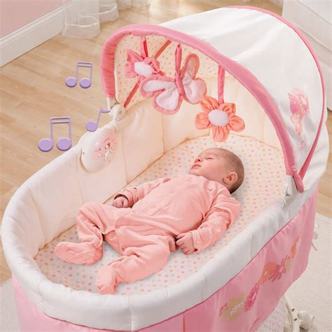 Babies Sleeping In Crib Pink Bassinet Infant Nursery Crib Musical Baby Basket
