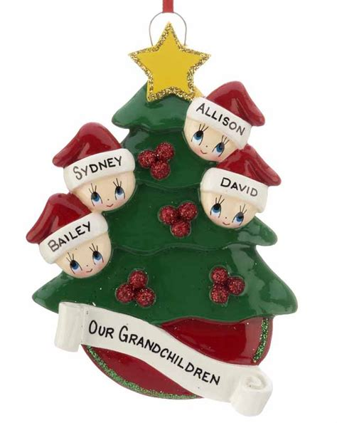 christmas tree family of 4 personalized ornament