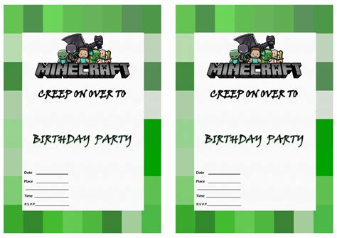 minecraft invitation template free free printable minecraft birthday invitations free