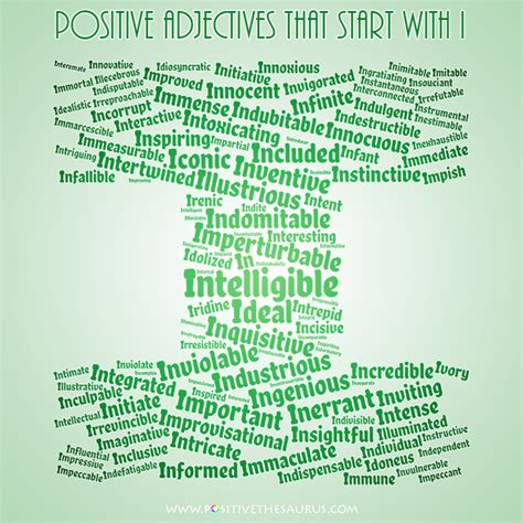 words that begin with the letter i positive adjectives that start with i 855   positive adjectives that start with i word cloud small