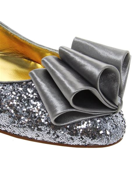 Fatshoes Silver ted baker sto glitter flat shoes in silver lyst