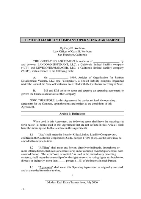 2018 Llc Operating Agreement Template Fillable Printable Pdf Forms Handypdf Amendment To Llc Operating Agreement Template