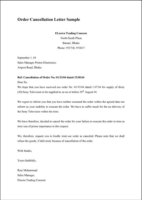 cancellation letter model order cancellation letter sle exle format template
