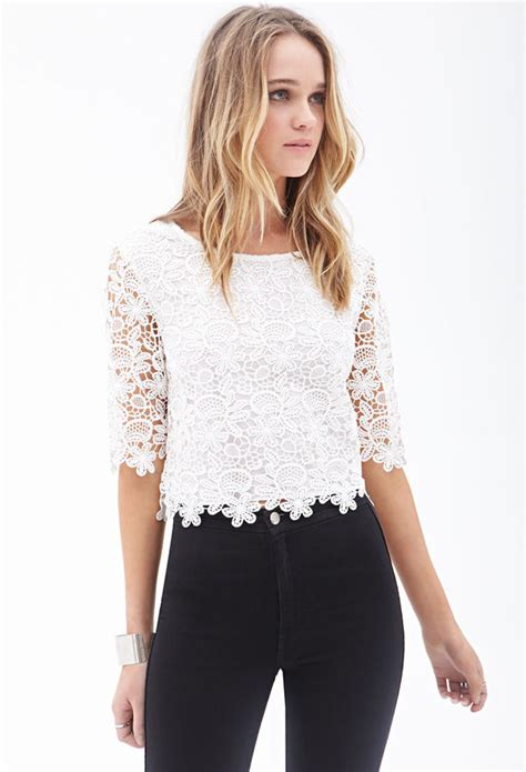 Flower Crochet White Rajut Bunga Crop Top forever 21 floral crochet crop top where to buy how to