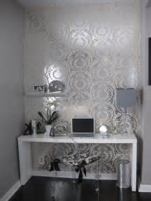 And Silver Living Room Wallpaper White Lacquer Desk Contemporary Den Library Office